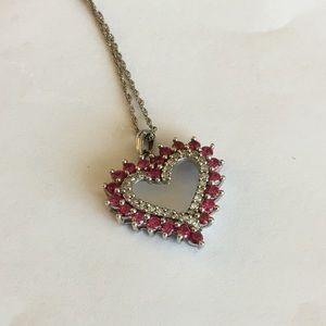 Jewelry - Sterling silver diamond heart red stone pendant